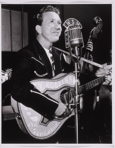 Gordon Gillingham, Marty Robbins performs on WSM's Friday Nite Frolics, July 13, 1956, gelatin silver print, 20 x 16, private collection. © Gordon Gillingham. Photo: E.G. Schempf.s